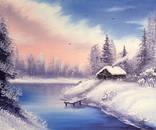 Картина Домик у реки, 25х30 см. живопись на холсте, оригинал, с подписью