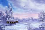 Картина Зимняя пастораль, 20х30 см. живопись на холсте, оригинал, с подписью