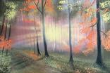 Картина Рассвет в осеннем лесу, 20х30 см. живопись на холсте, оригинал, с подписью
