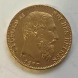 20 франков 1877 года БЕЛЬГИЯ золото 6,45 грамм 900` photo 1