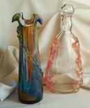Чешское цветное стекло. Графин и ваза одним лотом.