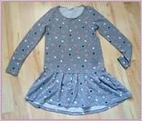 Серое платье H&M с длинным рукавом в горох на 7-8 лет