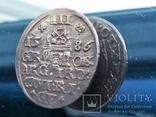 3 гроша 1586 Рига Стефан Баторий трояк не соосность