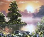 Картина Летом на рассвете, 25х30 см. живопись на холсте, оригинал, с подписью