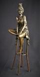 Девушка на барном стуле. Бронза, Европа , Статуэтка . Эротика