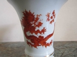 Ваза салфетница ручная роспись Красный Дракон клеймо Meissen handgemalt 1950 г. Германия