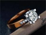 Потрясающее кольцо S925 покрыто золотом 18К с большим SONA бриллиантом