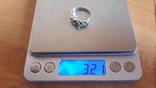 Кольцо 875 проба серебро. Салатовый камень., фото №7