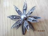 Винтажный брошь серебро филигрань photo 1