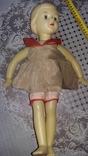 Кукла СССР 45 см белая на резинках, клеймо кошка, рельефные волосы