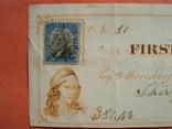 США чек 1872 год на 30,00$ +марка
