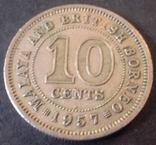 10 центів. 1957 року Малайя і Британське Борнео, фото №2