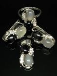 Набор из кольца, серег и кулона с камнями, фото №2