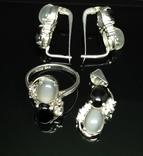 Набор из кольца, серег и кулона с камнями, фото №12