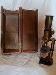 Старинный микроскоп с футляром photo 1