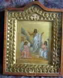Воскресение Христово.Сусальное золото.Киот