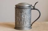 Винтажная пивная кружка, олово, богатый декор, Германия