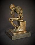 Мыслитель Бронзовая Скульптура Скелет Фигура