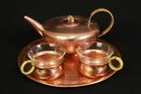 Медный чайный сервиз на две персоны. Ручная работа. Европа. (0355)