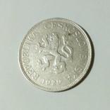 5 крон 1929 год.Чехословакия. Серебро.