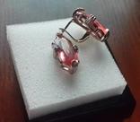 Шикарные серьги позолоты 585 пробы с розовым рубином (Шри ланка) TUSSO