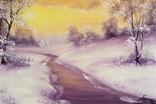 Картина Покрывало зимы, 20х30 см. живопись на холсте, с подписью автора photo 1