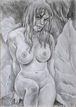 Рисунок Ню - обнаженная девушка - карандаш - А3 photo 1