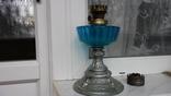 Красивая стеклянная старинная керосиновая лампа + бонус