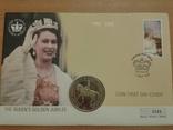 Коллекционный конверт № 0245 2002 года почтовая марка, спец. гашение, монета