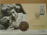 Коллекционный конверт № 5061 Елизавета-2 2002 г. поч. марка, спец. гашение, монета