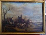 Картина в раме,пейзаж,полотно, масло.