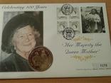 Коллекционный конверт № 1076 Елизавета-мать 1999 г. поч. марка, спец. гашение, мо