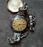 """Серебряные часы """"Manas"""" Швейцария ,17 камней с 1 грн."""