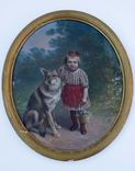 Большой портрет до 1939 г., темпера на картоне, родная рама, Германия
