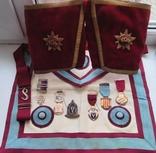 Лот:Масонские награды(Масонский знак:1923,1946,1948,1951,1953,1961 гг.),фартук,кряги.