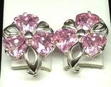 Набор: серьги, кулон, розовый камень, фото №5