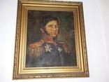 Портрет офицера царской армии в раме ,с подписью художника