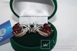 Новые серебряные серьги с золотыми накладкими, фото №2
