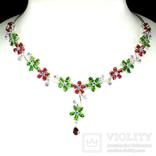 Ожерелье с танзанитами,хромдиопсидами , рубинами и родрлитом, фото №2