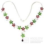 Ожерелье с танзанитами,хромдиопсидами , рубинами и родрлитом, фото №4