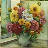 Картина натюрморт цветы Солнечный букет 50х50 холст масло автор Короткова Т.Г.