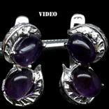 Серьги с натуральными пурпурными аметистами, фото №2