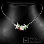 Ожерелье с натуральным перламутром, эмалью и белыми топазами photo 1