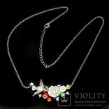Ожерелье с натуральным перламутром, эмалью и белыми топазами, фото №3
