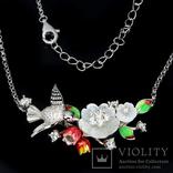 Ожерелье с натуральным перламутром, эмалью и белыми топазами photo 3