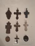 Коллекция: 7 старинных нательных крестов и 2 ладанки . photo 1