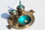 Серебрянный столовый набор с эмалью и чернью. photo 1