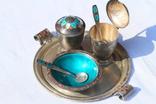 Серебрянный столовый набор с эмалью и чернью. photo 2