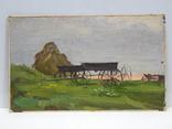 5/3781. Сельский пейзаж, тонкий картон,масло, 22,5х37 см. photo 1