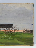 5/3781. Сельский пейзаж, тонкий картон,масло, 22,5х37 см. photo 3